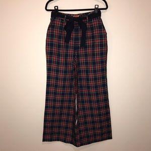 ModCloth Red Plaid Wide Leg Pants